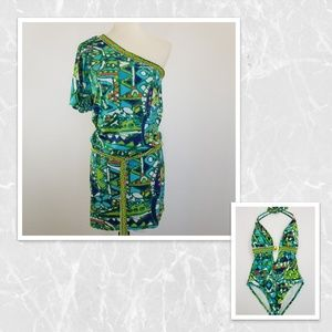 Trina Turk swimwear cover up & one piece Sz8